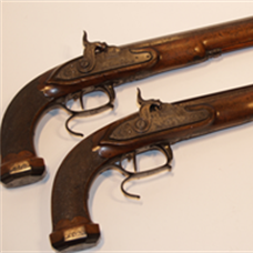 Pair Continental percussion duelling/target pistols