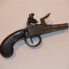Double-barrelled flintlock pistol by Segalas
