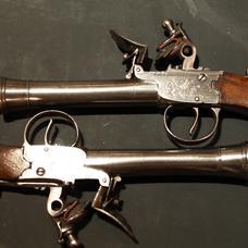 Pair French flintlock blunderbuss pistols