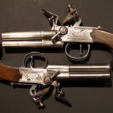 Rare pair of 3-barrel flintlock pistols by Thomas